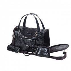 Black crocodile dog travel hand bag