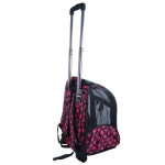 Black w/pink paws pet carrier on wheels