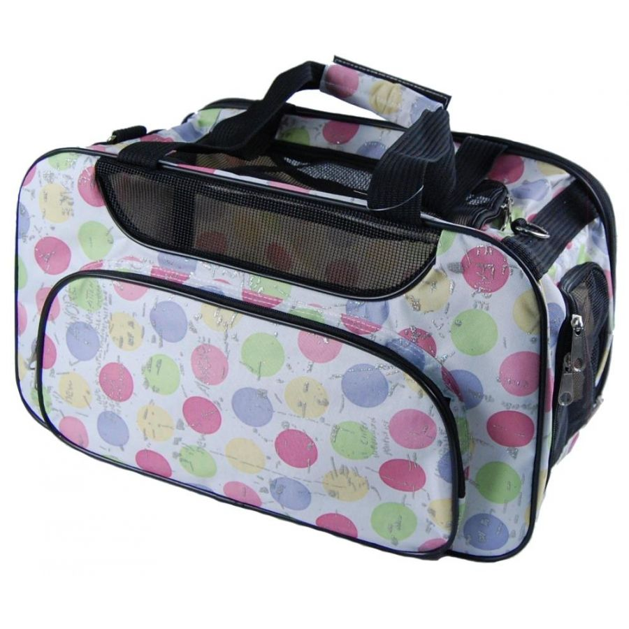 White designer dog tote travel bag with colored polka dots