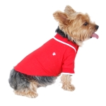 Side view red polo dog tshirt