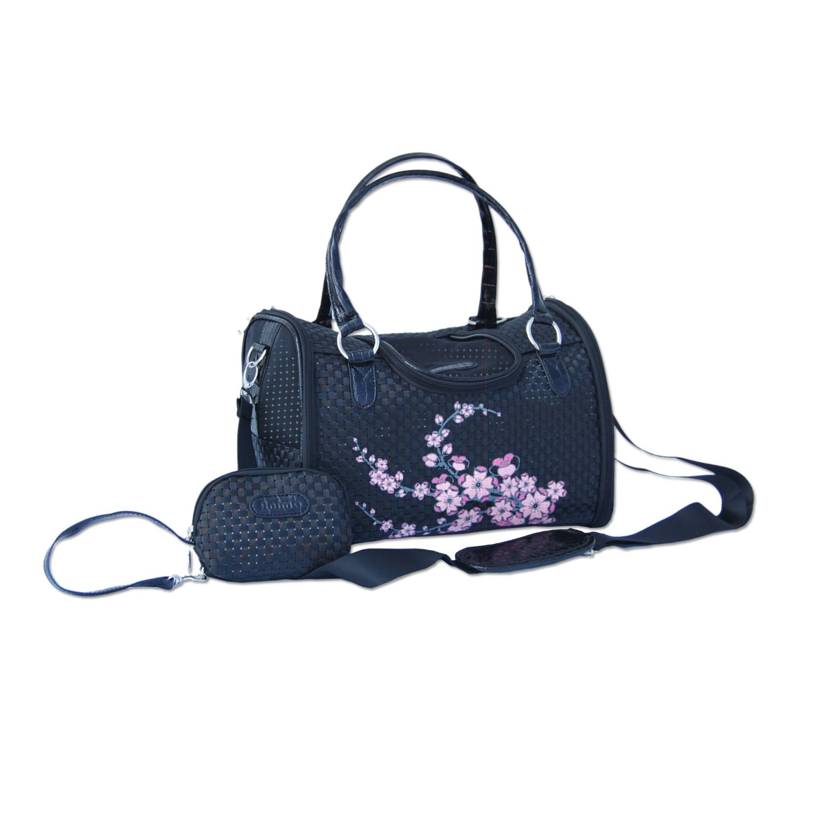 Weave pattern dog hand bag black