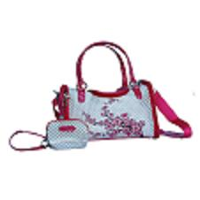 Weave-pattern dog hand bag white/pink