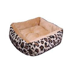 Square leopard dog bed in beige