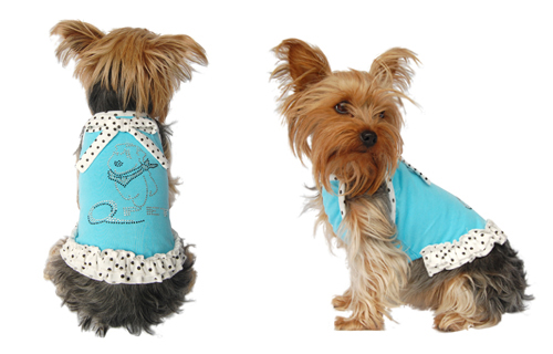 Blue dog sundress w/white polka dots trim