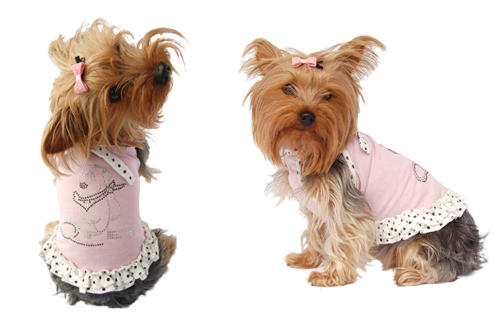 Pink dog sundress w/white polka dots trim