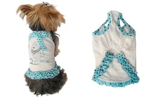 White dog sundress w/blue polka dots trim