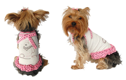 White dog sundress w/pink polka dote trim