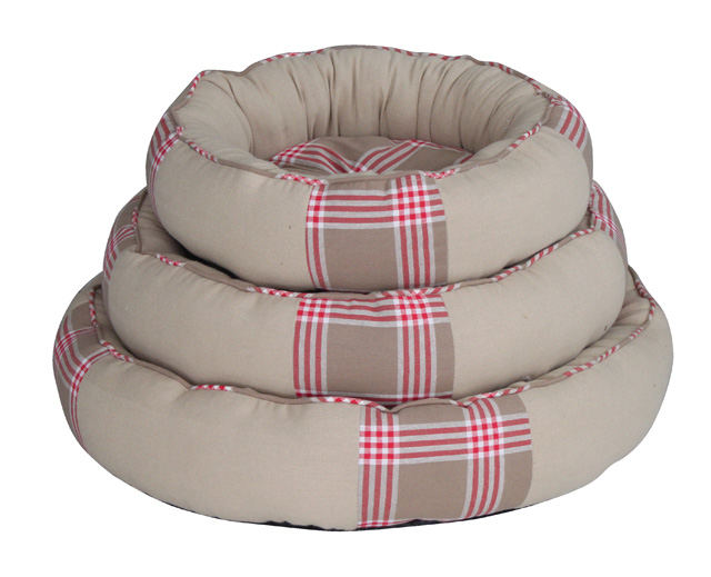 Red plaid print dog donut bed