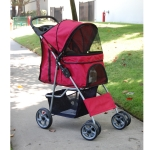 Red pet stroller for cats