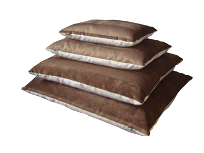 Brown woven fabric dog pillow bed
