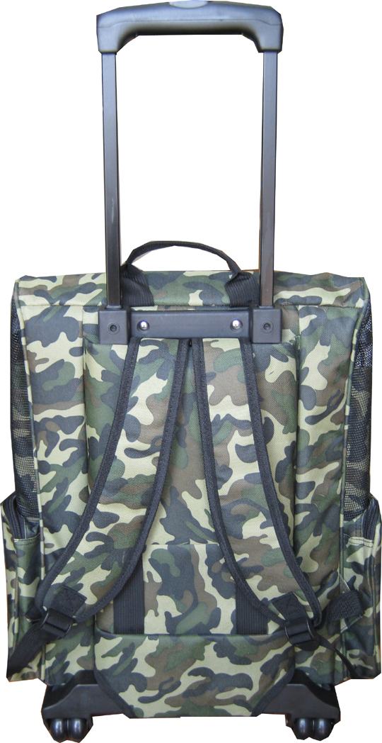 Camouflage dog backpack pet carrier w/telescopic handle