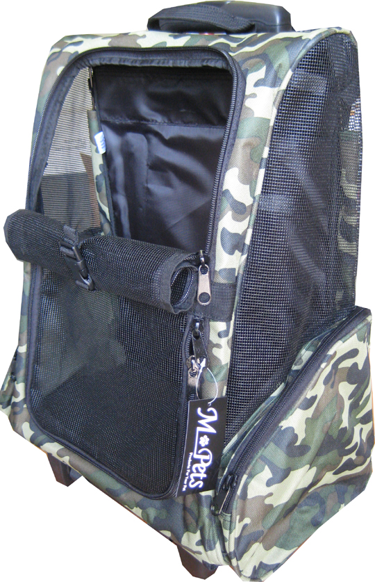 Camouflage dog backpack carrier w/mesh window