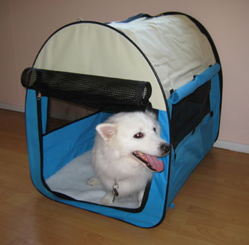 Large portable dog tent blue