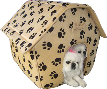 Large Collapsible dog house paw print (brown)