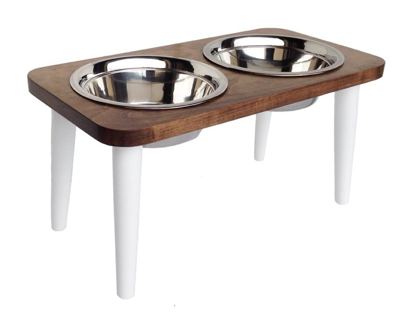 Southern Maple wood double bowl dog diner with white legs