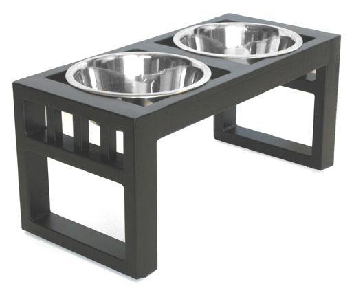 Black wrought iron dog double diner